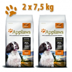 APPLAWS Grain Free Adult Small & Medium Breed Chicken 2x7,5kg