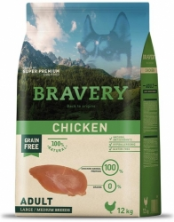 Bravery Grain Free Dog Adult Large & Medium Chicken 12kg