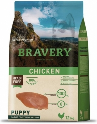 Bravery Grain Free Dog Puppy Large & Medium Chicken 12kg