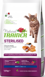 Trainer Natural Cat Adult Sterilised with Salmon & Pea Fibre 1,5kg