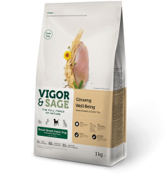 Vigor & Sage Grain Free Dog Small Breed Ginseng Well-Being Fresh Chicken & Green Tea 1kg